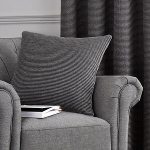 Ribbed Chenille Cushion 45x45cm - Charcoal
