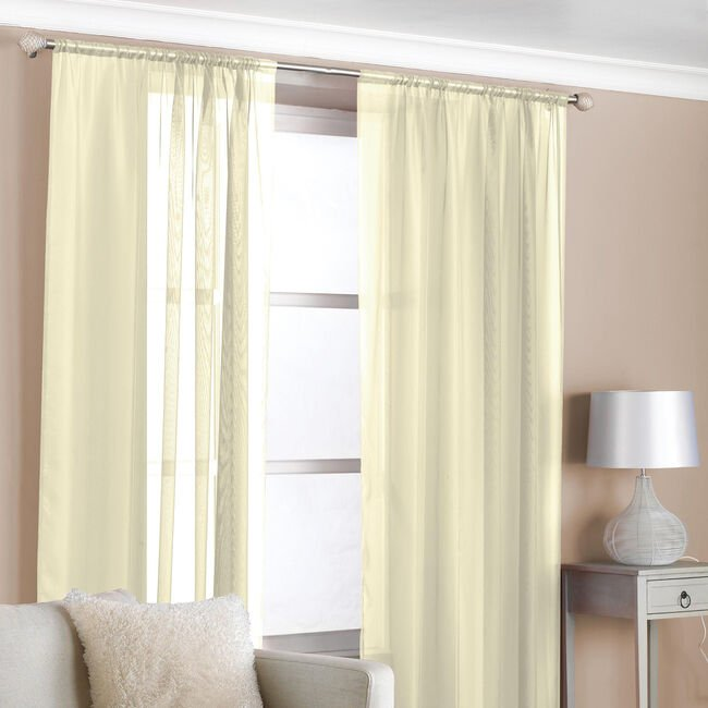 Slot Top Voile Curtains Cream 2 Pack