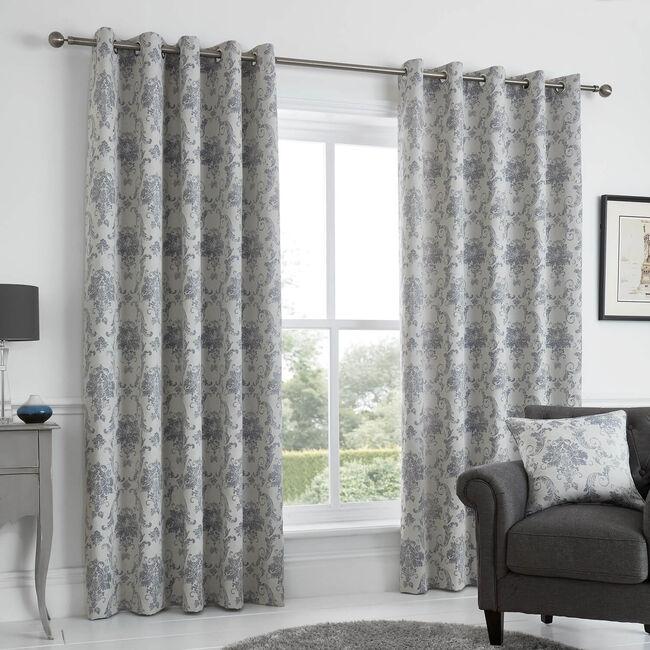 DISTRESSED DAMASK BLUE 66x54 Curtain