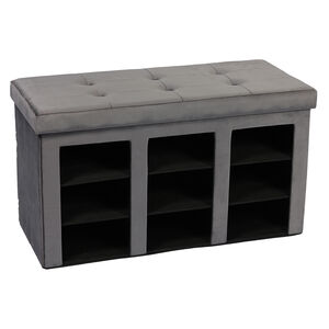 Folding Slim Shoe Storage Ottoman - Grey