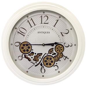 Cream Cutout Cogs Clock 58cm