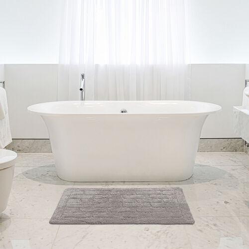 Cotton Brick Bath Mat Steel