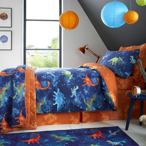 JUNIOR BED DUVET COVER Space Dinosaurs