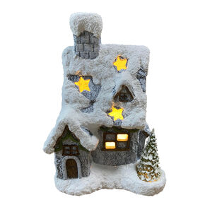 Light- Up Snow Covered House With Tree - 35cm