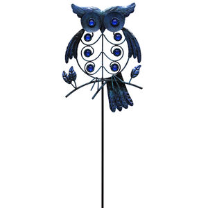 Blue Owl on Perch Garden Stake
