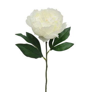 Single Peony with Foliage Bridal White 45cm