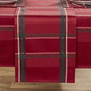 Plaid Damask Red Table Runner 229cm x 36cm