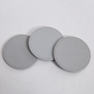 Reversible Round Herringbone Coasters - Grey