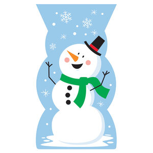 Snowman Shaped 20 Cello Bags With Twist Ties