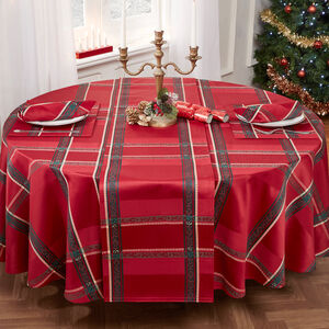 Plaid Damask Round Table Cloth Red 228cm