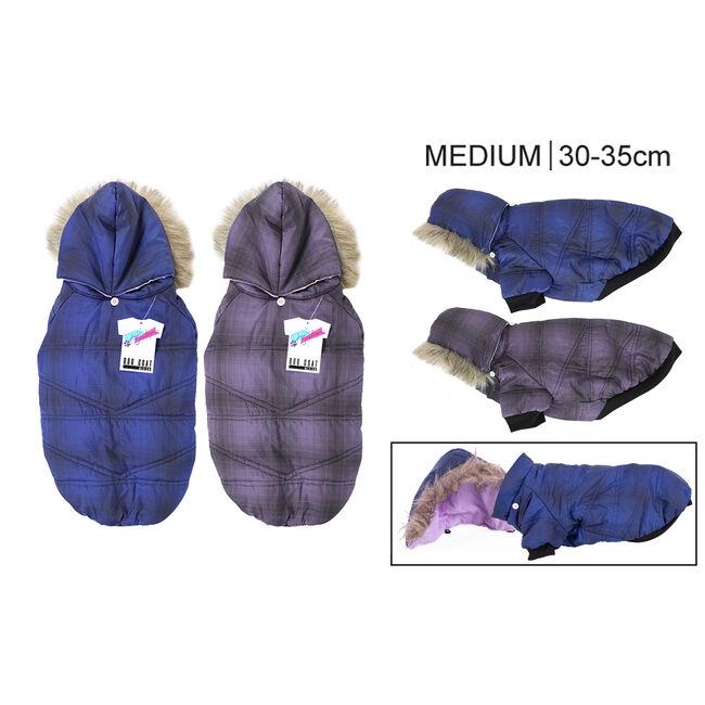 Padded Dog Coat with Fur Hood - Medium