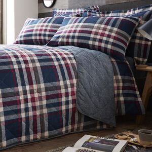 Brushed Cotton Matthews Check Bedspread