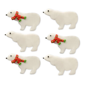 Wintery Polar Bear Handmade Icing Cake Toppers