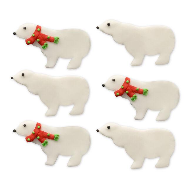 Wintery Polar Bear Handmade Icing Cake Toppers
