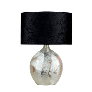 Silver Scratched Table Lamp with Black Shade