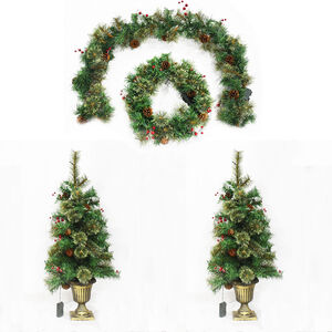 Christmas Doorway Lightup Wreath and Garland