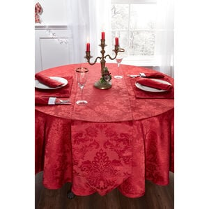 Textured Damask Red Round Tablecloth 228cm