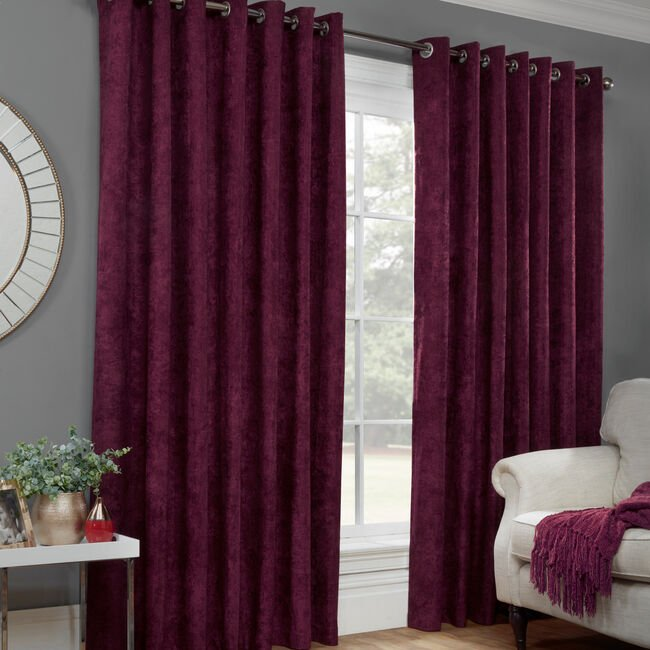 BLACKOUT & THERMAL H/BONE MULBERRY 66x54 Curtain