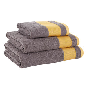 500GSM DAVE HERRINGBONE GREY/OCHRE Hand Towel