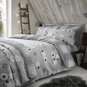 SINGLE DUVET COVER Brushed Cotton Snoozy Sheep