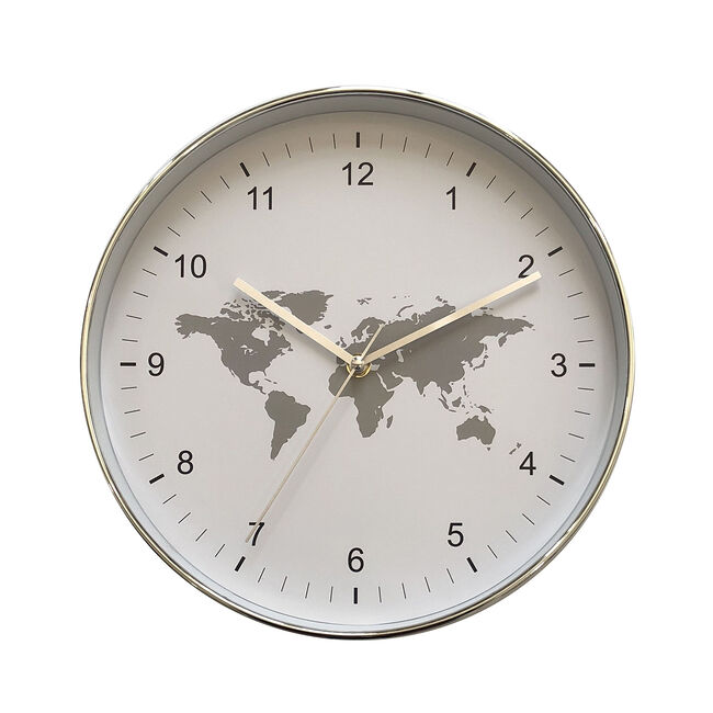 Grey World Map Clock 12""