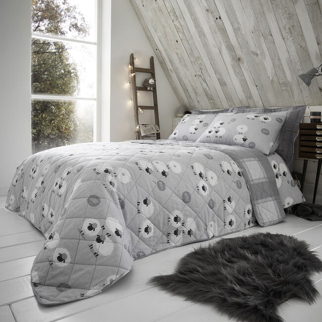 Brushed Cotton Snoozy Sheep Bedspread 200x220cm