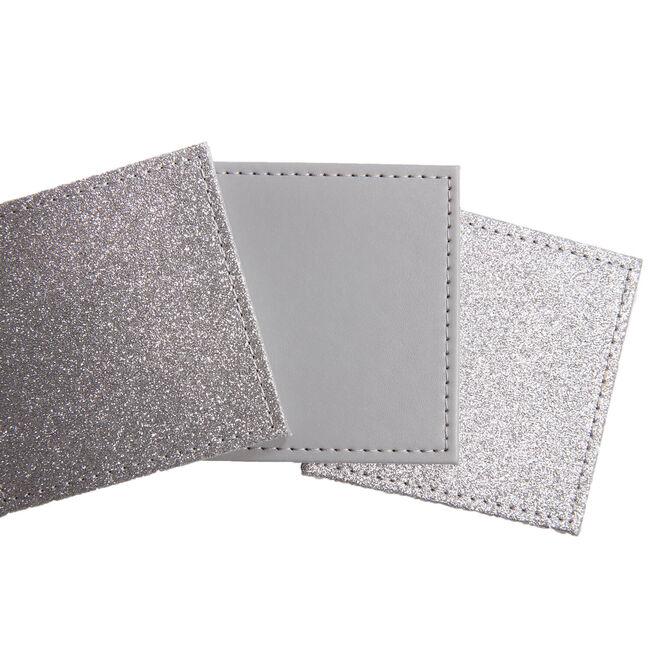 Reversible Square Glitter Coasters - Silver