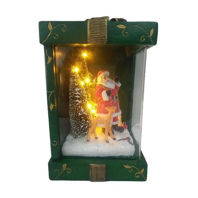 Lightup Santa Scene In Gift Box