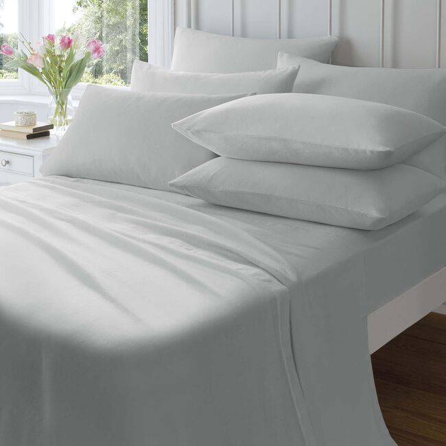 KING SIZE FITTED SHEET Flannelette Grey