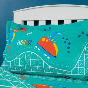 Dino Day Out Oxford Pillowcase pair - Turquoise