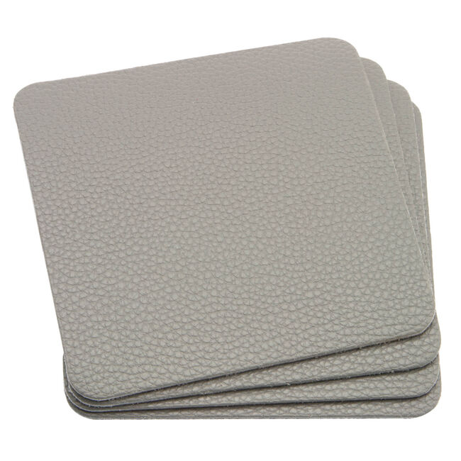 Leather Grey Coasters 4Pk