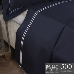 DB FLAT SHEET Double Stitch Navy 500tc