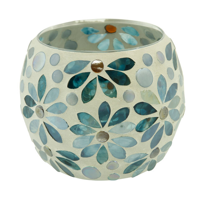Blue Flower Round Candle Holder