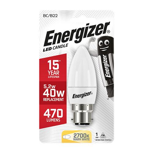 Energizer B22 LED Candle Bulb Opal 59W (EQ40W)