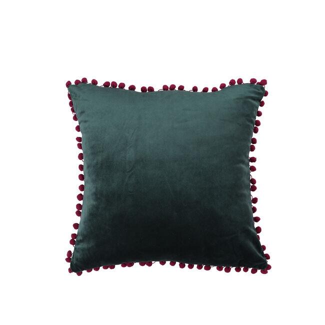 Pom Pom Cushion 45x45cm - Green