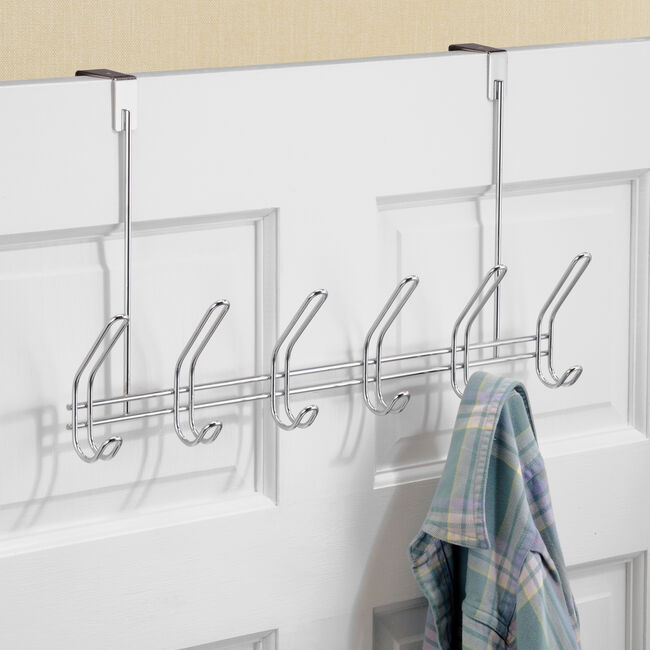 Over Door 6 Hook Chrome Rack