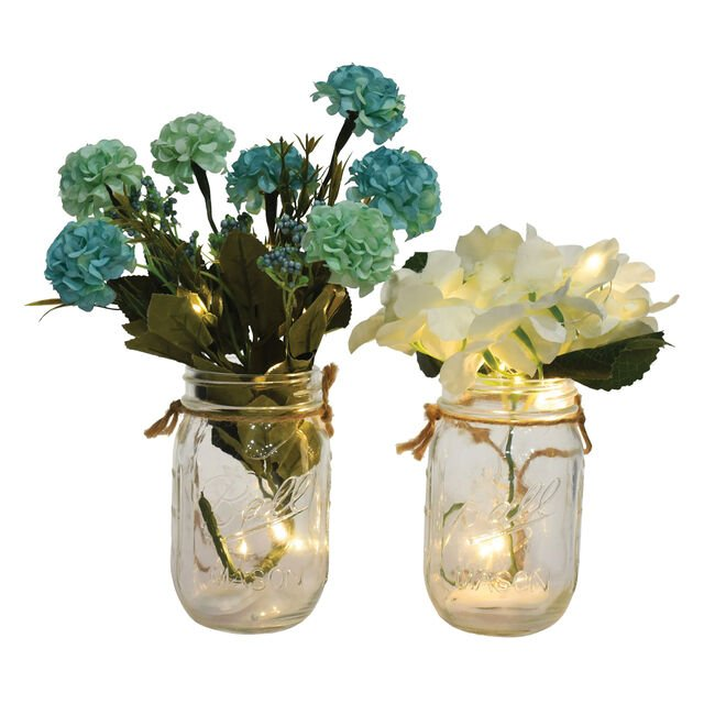 10 LED Glass Jar With Flowers
