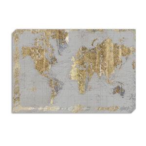 Gilded Map 60 x 90cm Canvas - Grey