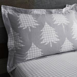 Brushed Cotton Trees Grey Oxford Pillowcase Pair