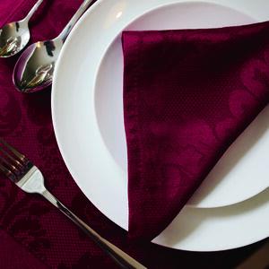 Textured Damask Burgundy Napkins 4 Pk