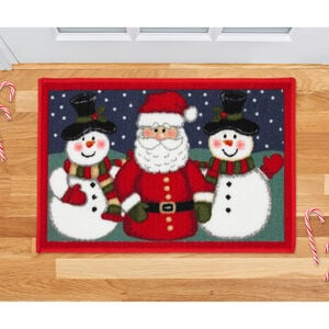 Santa and Snowman Doormat - Red