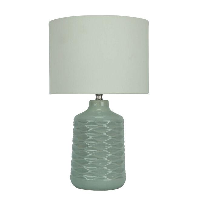 Waved Ceramic Lamp - Duck Egg