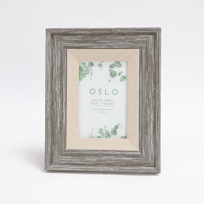 Oslo Aged Grey Photo Frame 4x 6""