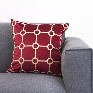 Embroidered Stitch Cushion 45x45cm - Burgundy