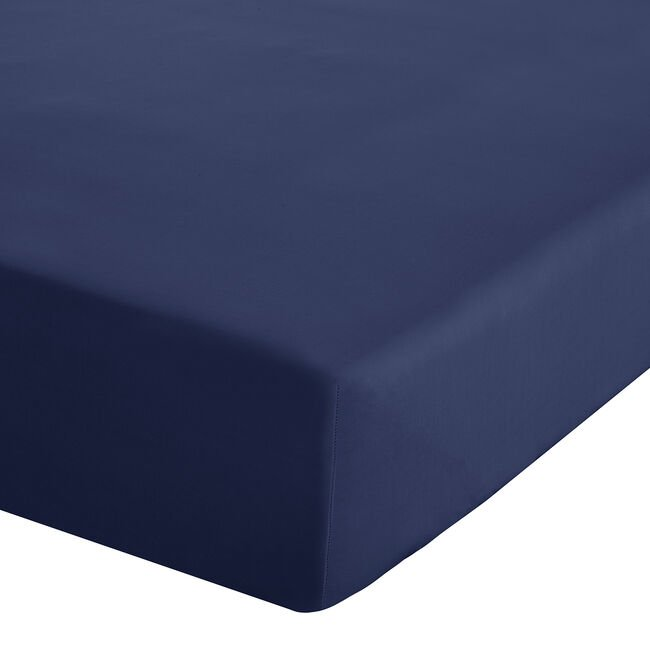 SINGLE FITTED SHEET Luxury Percale Navy