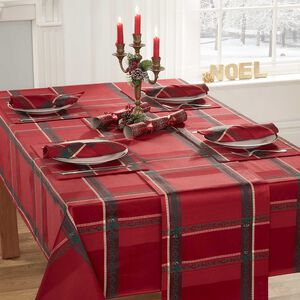 Plaid Damask Table Cloth Red 178 x 365cm
