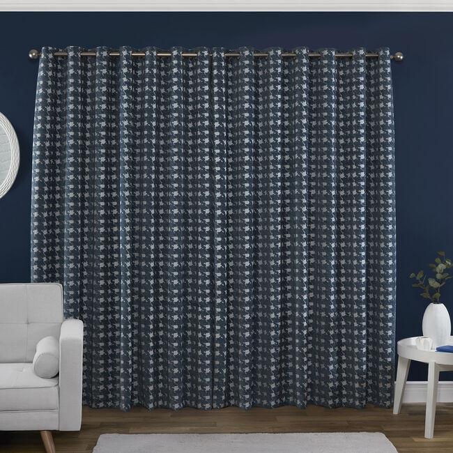 PIED DE POULE BLUE 66x90 Curtain