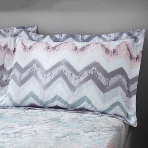 Hannah Oxford Pillowcase Pair - Grey/Blush