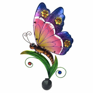 Decorative Glass Solar Butterfly Wall Art