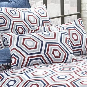 Polygon Navy/Berry Cushion 30x50cm